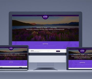 Enviotic responsive landing page design shown on all devices