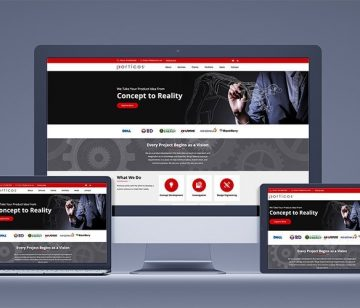 porticos responsive website redesign shown on all devices